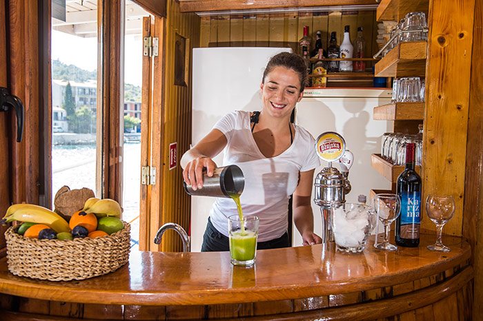 The onboard bar serves beer, wine, cocktails, shots - whatever you want!
