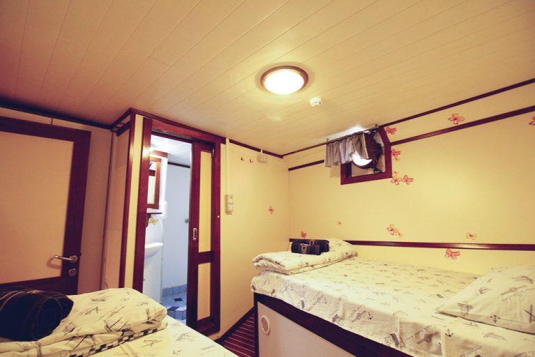 Below-deck twin cabin, showing ensuite.