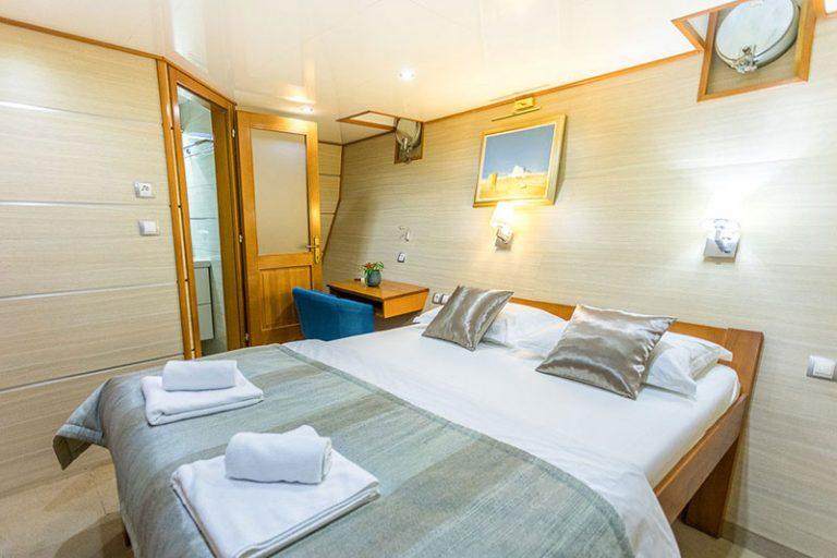 A below-deck double cabin.