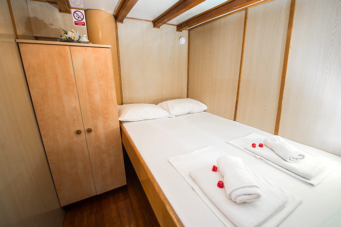 An above-deck cabin - dedicated double bed