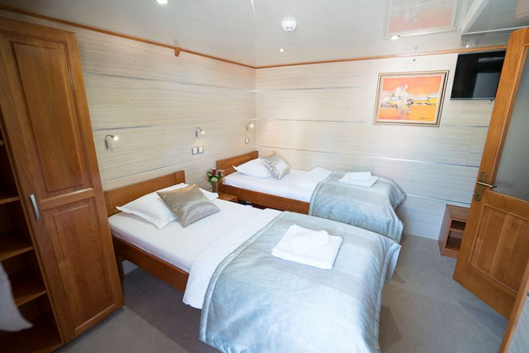 A twin above-deck cabin.